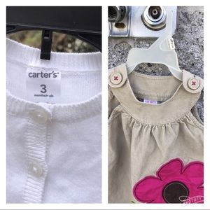 Carter's White Cardigan Sweater Corduroy Jumper 3M